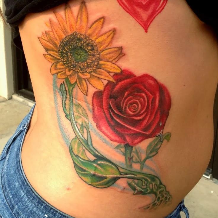 Back Rose And Sunflower Tattoo Design Of Tattoosdesign Of Tattoos