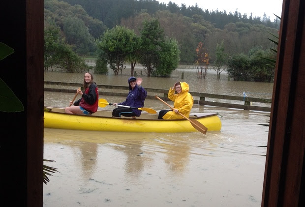 Flooding at Onetere Drive, Wanganui. Left to right - Steph Locket, Maria Williams, Tracey Culver.