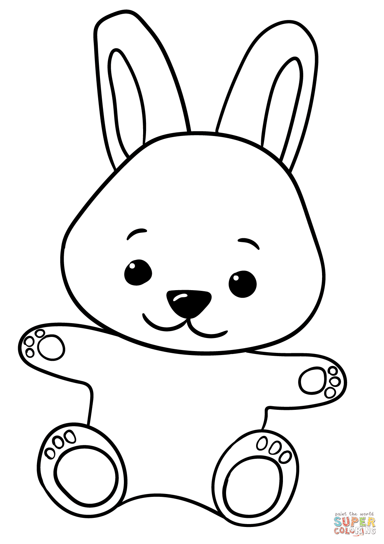 Cute Cartoon Bunny coloring page   Free Printable Coloring ...
