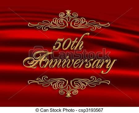 50th wedding anniversary invitation red. Illustration