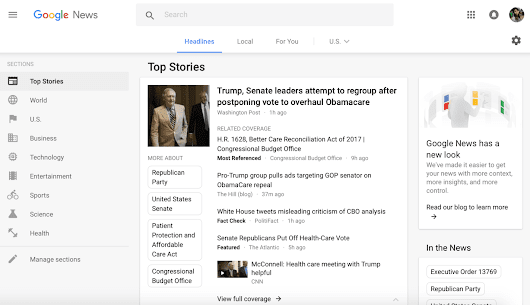Google News shows off its minimalist new look