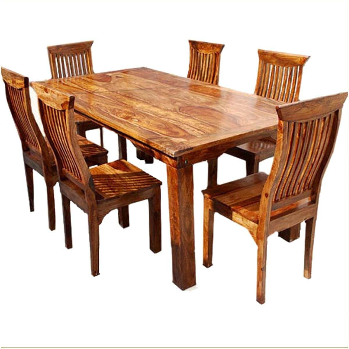Dallas Ranch Solid Wood Rustic Dining Table Chairs \u0026 Hutch Set