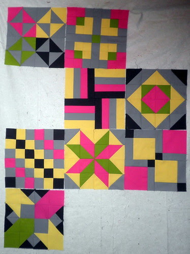 Blocks so far for the Patchwork Squared Modern Solids Quilt Along