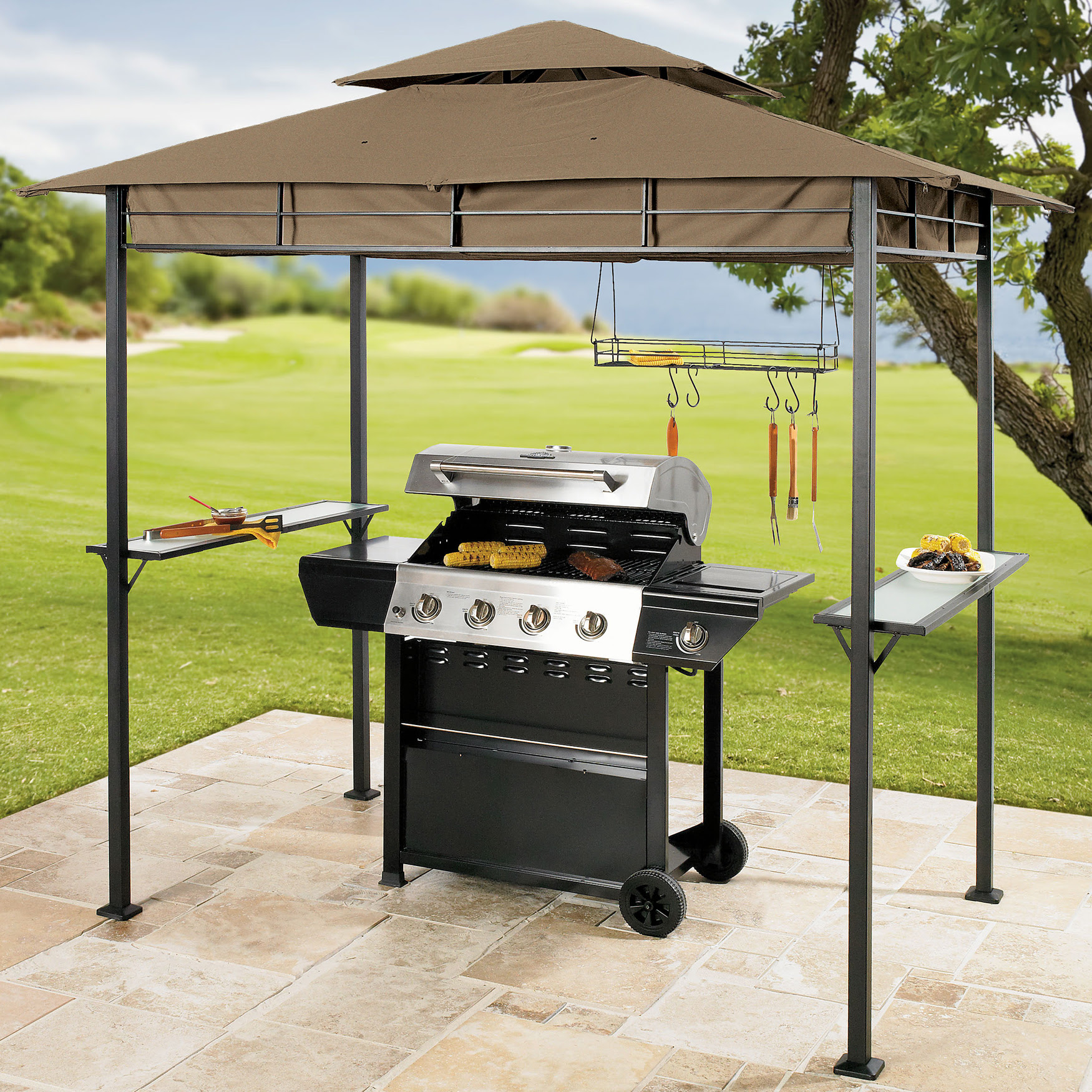 Create a grilling oasis with the Brylane Home Grilling Gazebo