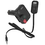 Pyle PBT97 4 Way Car Bluetooth-Streaming FM Transmitter Adapter with Detachable Microphone Black