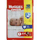 Huggies Snug & Dry Diapers, Size 1 - 44 count