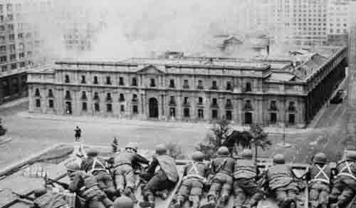 Today in History: On September 11, 1973, President Salvador Allende of Chile was overthrown in a military coup d'etat. Allende had been elected in 1970 on a Marxist platform. He began nationalizing major industries in Chile, including banks and U.S. owned copper firms. He began land redistribution and major social programs. The economy in Chile struggled as inflation rose, but Allende's popularity soared. The U.S. government spent $8 million to fund right-wing candidates, but did not have much affect. The U.S. continued to back military opposition, with the CIA heavily funding the coup. On September 11, the military, led by General Augusto Pinochet, took over the nation. 40,000 leftists were rounded up and brought to the National Stadium where many were executed. 130,000 people would be rounded up over the next three years, many never being seen again. Pinochet would finally lose control of the country in 1988. It is said that during the rest of his reign, nearly 3,000 were killed and close to 28,000 were arrested, imprisoned and tortured.