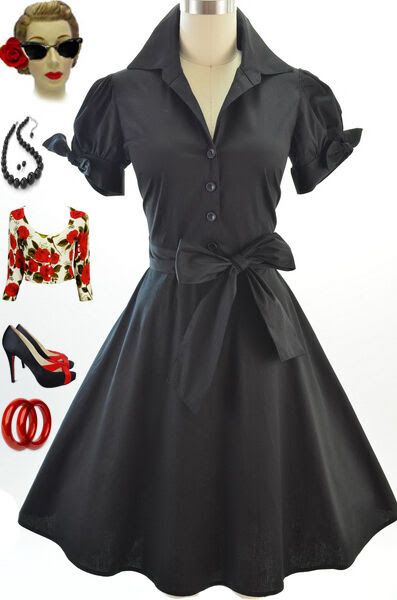 50s style black tie sleeve full skirt rockabilly pinup day