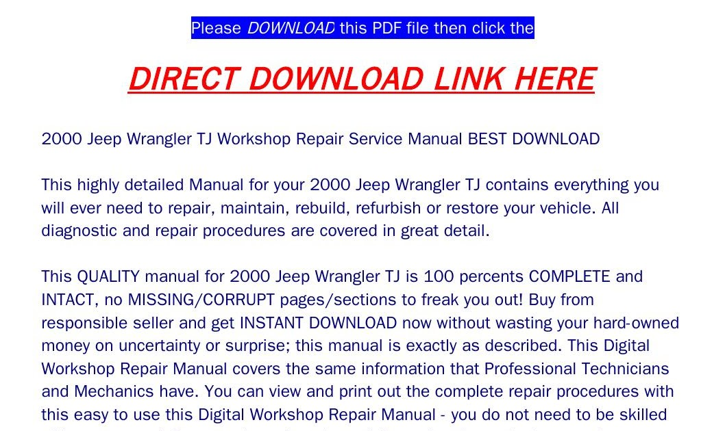 2000 Jeep Wrangler Tj Owners Manual