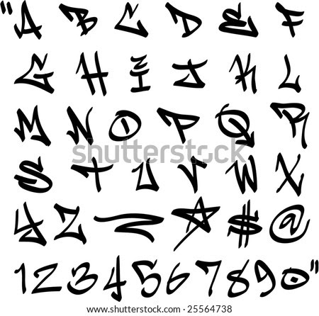 math coloring sheets : Graffiti Alphabet Bubble