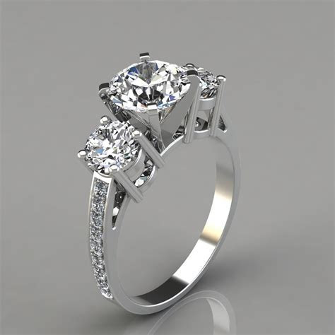 Three Stone Style Engagement Ring   PureGemsJewels