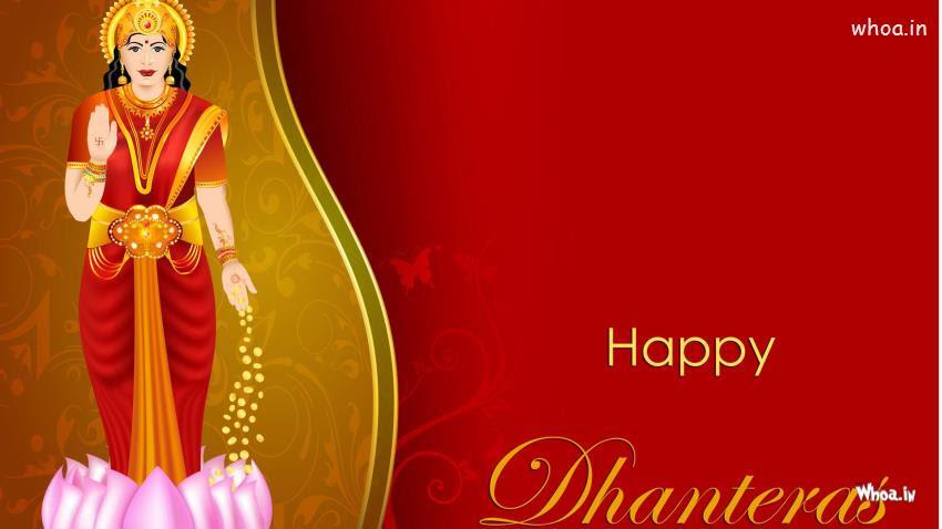 Happy Dhanteras With Goddess Lakshmi Hd Wallpaper