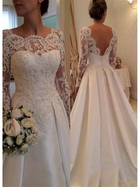 A Line Long Sleeves Lace V Back Wedding Dresses Bridal