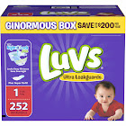 Luvs Ultra Leakguards Diapers, Size 1 - 252 count