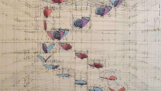 Wildly detailed drawings that combine math and butterflies