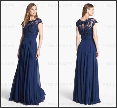 Navy Blue Long Wedding Guest Bridesmaid Dresses Lace