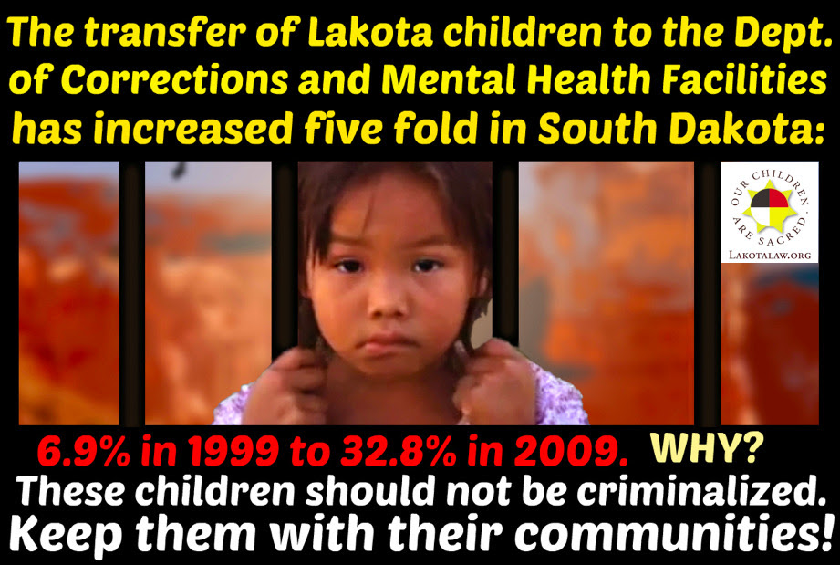 "lakotapeopleslawproject:  Please reblog this and spread the message of inequality for Lakota children in the foster care system. South Dakota's Department of Social Services is transferring Lakota foster children to the Department of Corrections and Mental Health Facilities at a staggering rate. The 10-year period between 1999 and 2009 depicts a nearly five-fold increase for children being moved to ""non-foster care institutions,"" growing from 6.9% in 1999 to 32.8% in 2009.  Why is this happening to these children? Why are they being taken from their families, from their communities, and being institutionalized? This ""institutionalization"" is not solving issues that these children may have. Please appeal to South Dakota to end its racist tactics."