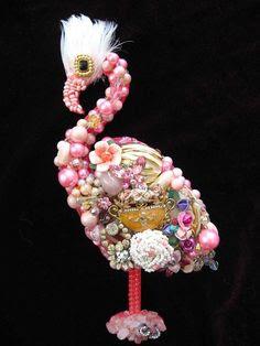 flamingo jewels   Vintage Jewelry Collage Sculpture Coco Pink Flamingo Decorative Art