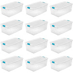 Sterilite 106 Quart Clear Plastic Latching Lid Storage Tote Container, 12 Pack at Spreetail (VMinnovations   VM Express)