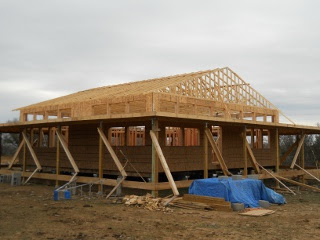 House Roof Trusses Finished - Full View