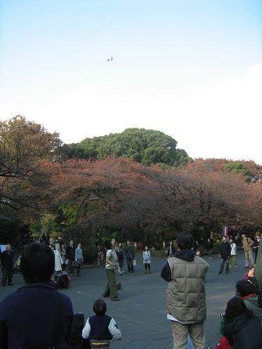The juggler juggles at Ueno park