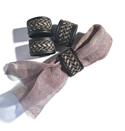 Masculine Tendencies Napkin Ring Set in Brown/Black | Handcrafted Handbags & Home Goods | Jypsea Leathergoods