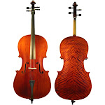 D'Luca Flamed Ebony Inlaid Professional Cello Outfit w/Padded Gig Bag, 4/4
