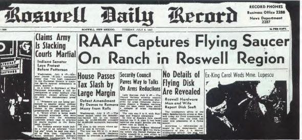 Incidente com OVNI em Roswell ficou conhecido a partir de capa do jornal Roswell Daily Record (Foto: Reprodução/Angelfire)