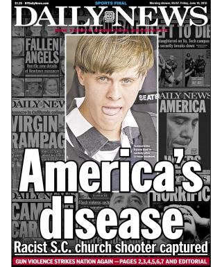 The front page of the New York Daily News on June 19, 2015 is ...
