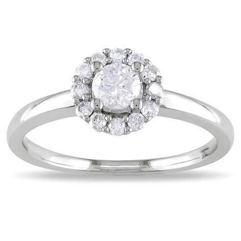 Precious Halo Cheap Engagement Ring 0.33 Carat Round Cut