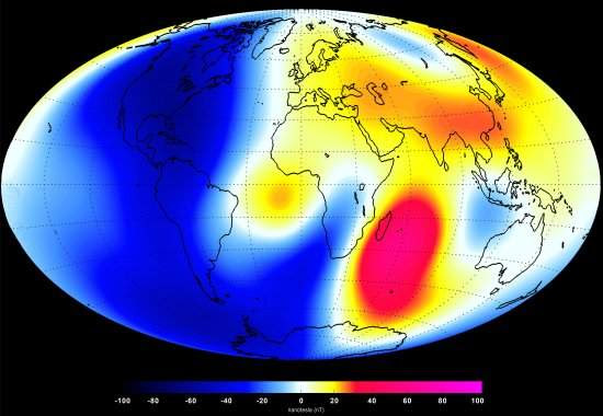 Campo magnético da Terra está enfraquecendo