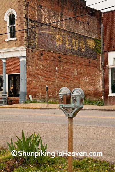 Old-Fashioned Duncan Parking Meter and Battle Ax Plug Tobacco Sign, Pomeroy, Ohio
