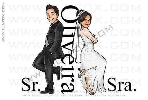 caricatura casamento, caricatura sr e sra smith, caricatura casal, caricatura bonita, caricatura noivinhos, caricatura Oliveira, by ila fox