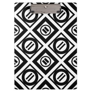 Black Equal Sign Geometric Pattern on White Clipboard