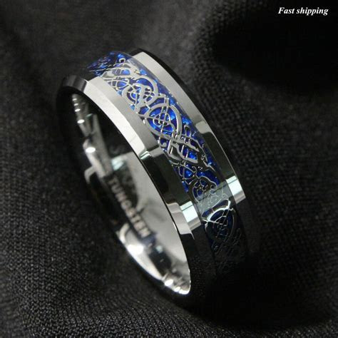 8/6Mm Silvering Celtic Dragon Tungsten Carbide Ring