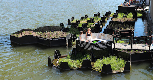 rotterdam's floating park is made entirely from recycled plastic waste found in the maas river