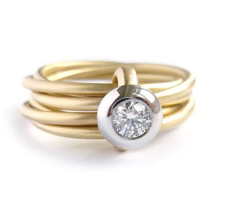 Modern gold and platinum 6 band enagement wedding ring