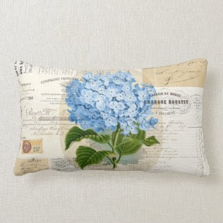 Vintage Blue Hydrangea French Ephemera Pillow