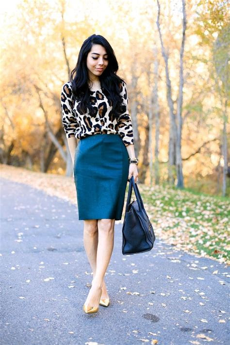 animal print cardi  similar color blazer teal skirt