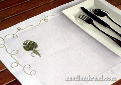 Embroidered Table Linens – and an Artichoke – Needle'