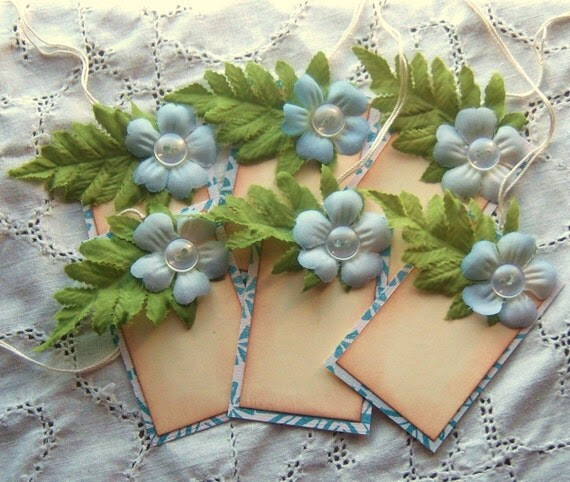 Floral Hang Tags- 3 Dimensional Silk Flowers - Shabby Chic