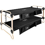 Disc-O-Bed Large Cam-O-Bunk Benchable Bunked Camping Cot with Organizers, Black by VM Express