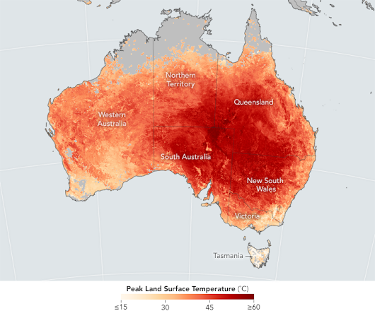 Australie - records de chaleur (2017) • Carte • PopulationData.net