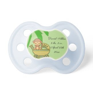 Jungle Monkey In Baby Carriage Baby Shower Pacifier