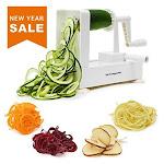 Spiralizer Vegetable Slicer - Best Veggie Zoodle Spiral Maker Zucchini Pasta Noodle Spaghetti Maker For Low Carb Meals (4 Blade)