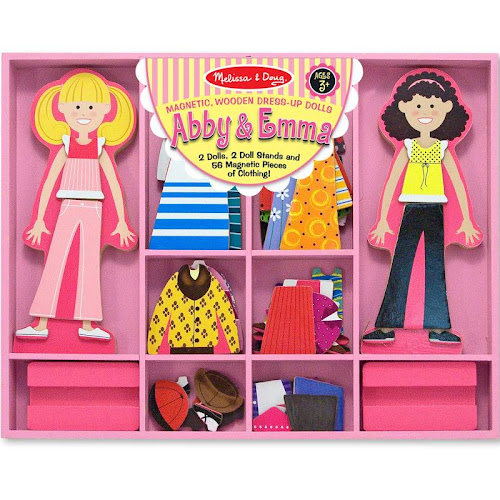 Melissa & Doug Abby and Emma Deluxe Magnetic Wooden Dress-Up Dolls Play Set - 55 count