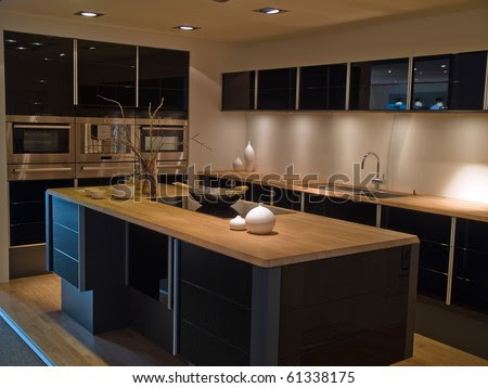 Modern Design Trendy Kitchen With Black And Wood Elements Stock ...