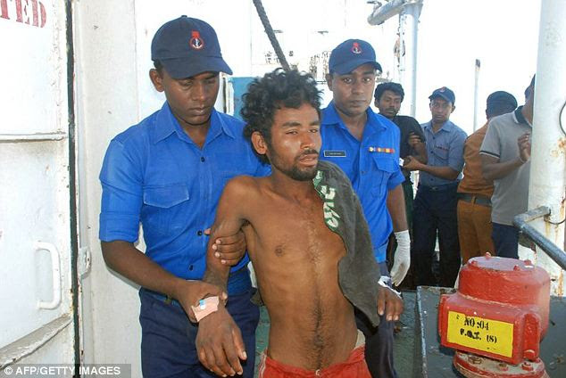 Dangerous mission: The men said they had tried to enter Malaysia but, when they were refused, they set sail again on the 4,000-mile trip south to Australia