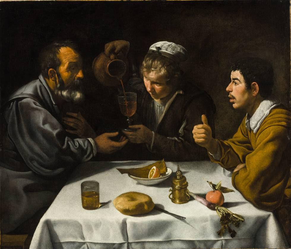 'Escena de taberna con dos hombres y una mujer', de Velázquez (1618-19), óleo para la exposición 'Obras maestras de Budapest. Del Renacimiento a las Vanguardias', en el Museo Thyssen.