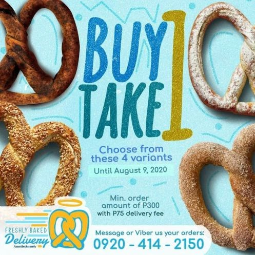 Buy 1 Take 1 on pretzels when you order from Auntie Anne's Freshly Baked Delivery